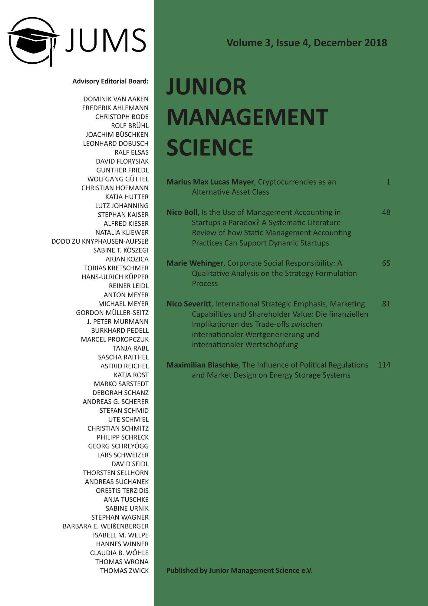 Titel: Junior Management Science, Volume 3, Issue 4, December 2018