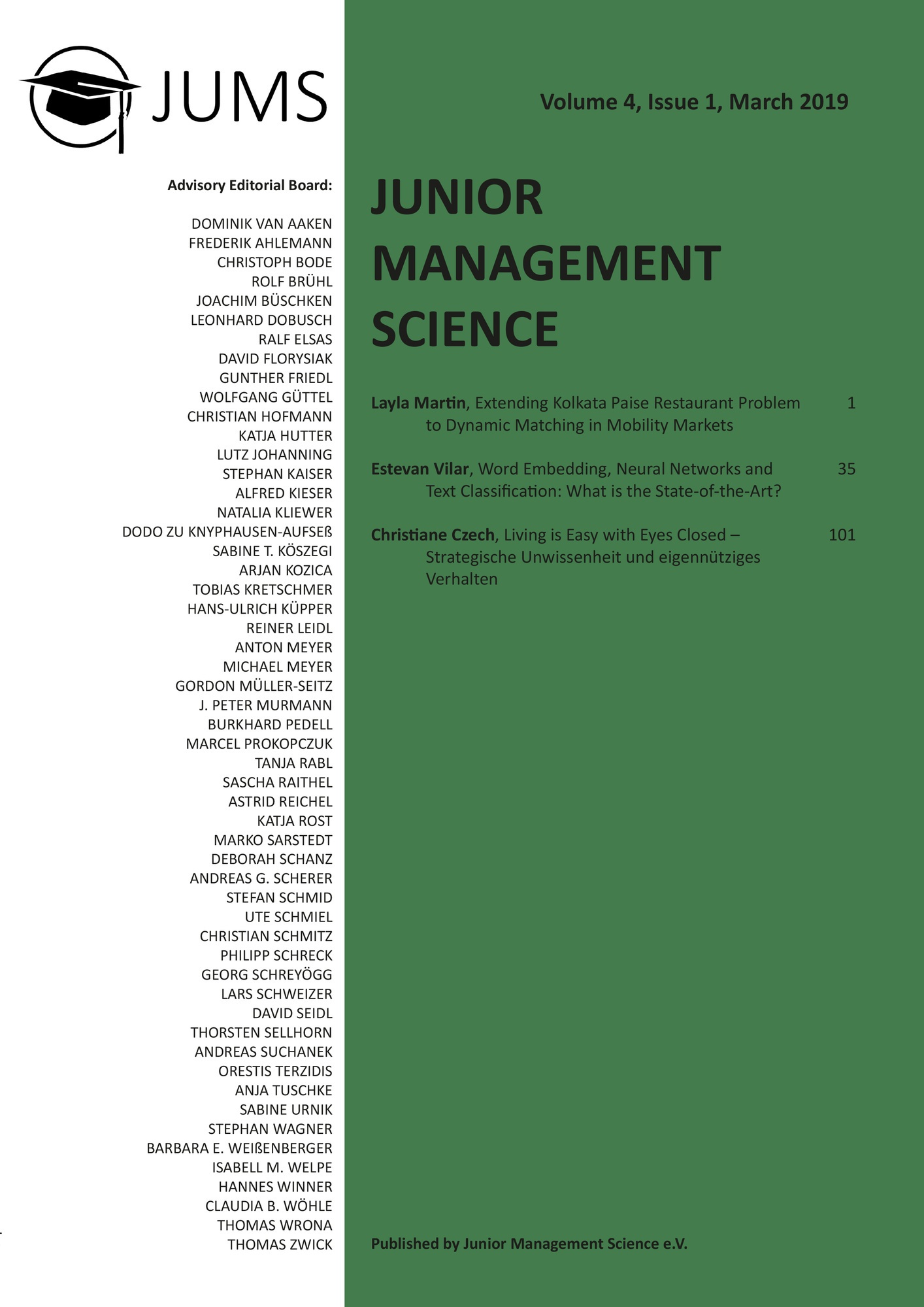 Titel: Junior Management Science, Volume 4, Issue 1, March 2019