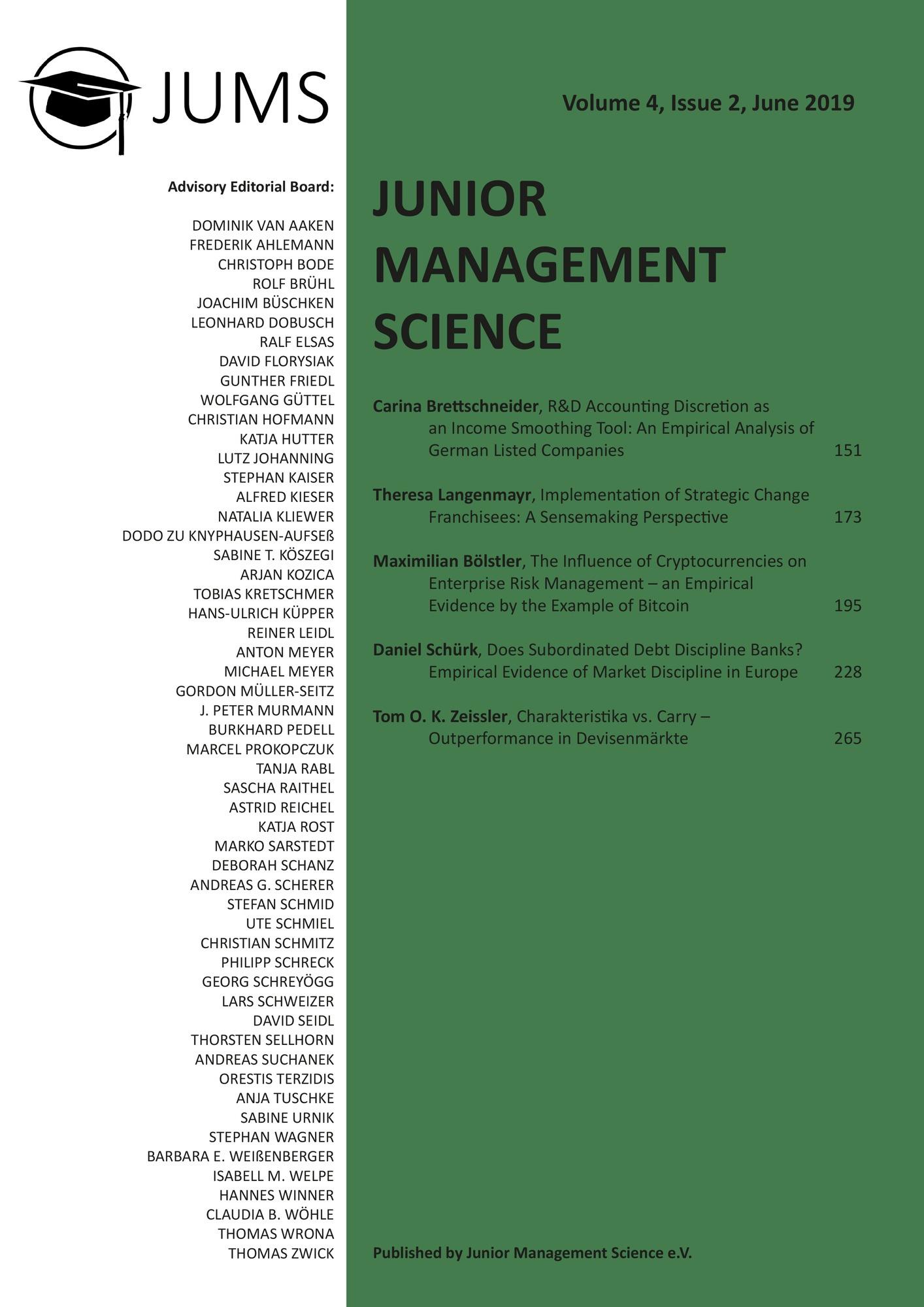 Titel: Junior Management Science, Volume 4, Issue 2, June 2019