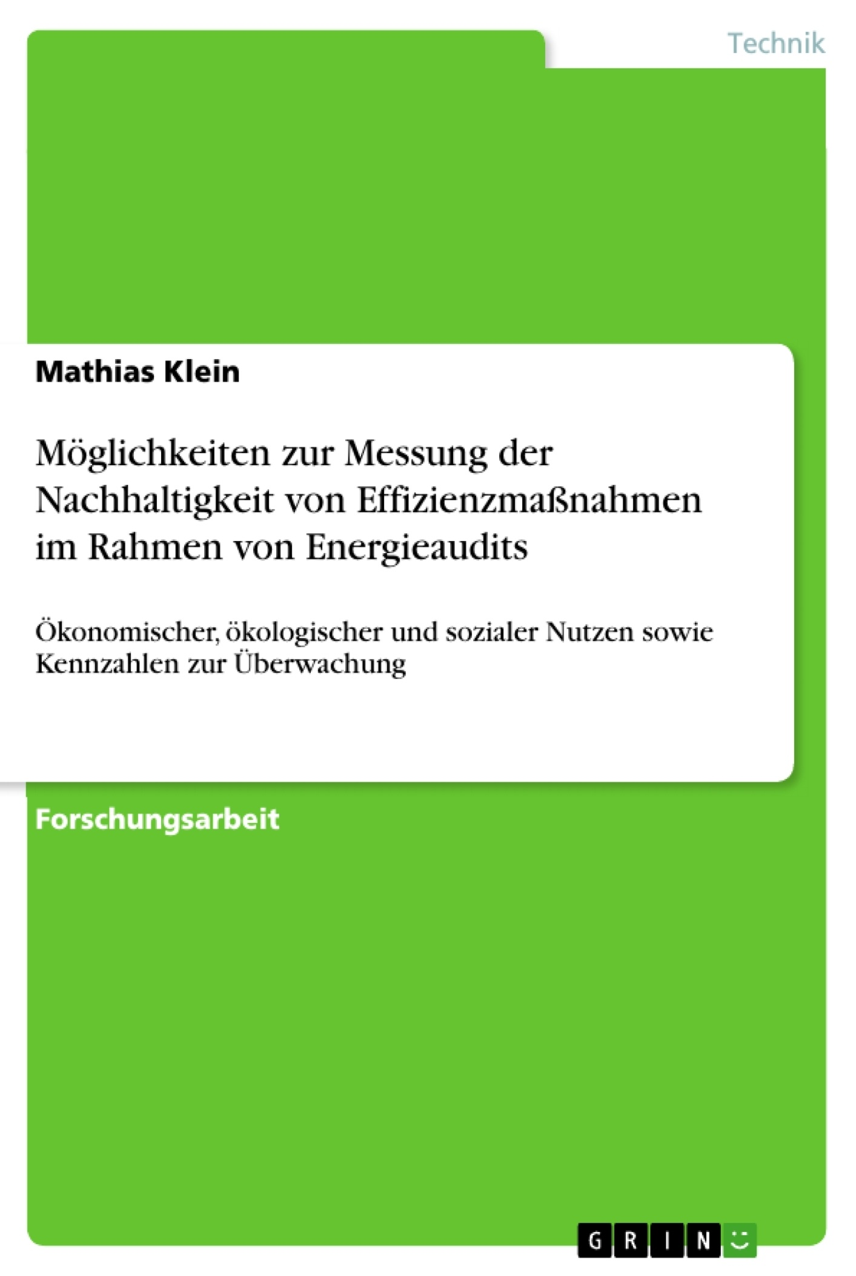 Titel: Möglichkeiten zur Messung der Nachhaltigkeit von Effizienzmaßnahmen im Rahmen von Energieaudits