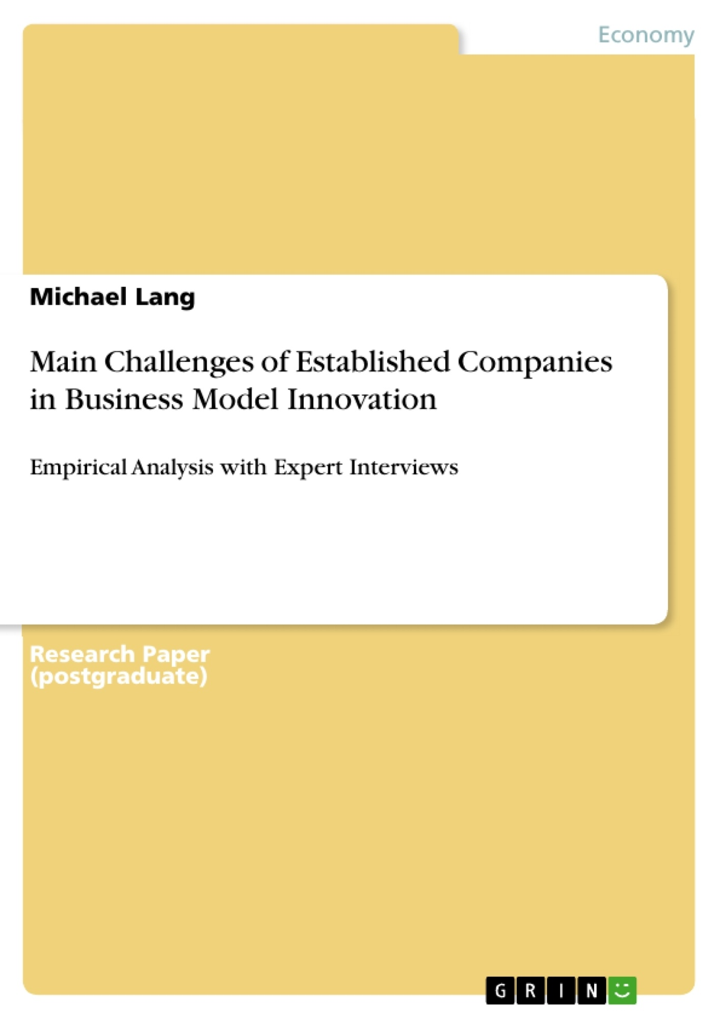 Title: Main Challenges of Established Companies in Business Model Innovation