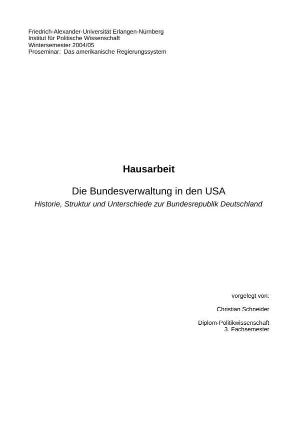 Titel: Die Bundesverwaltung in den USA - Historie, Aufbau und Unterschiede zur Bundesrepublik Deutschland