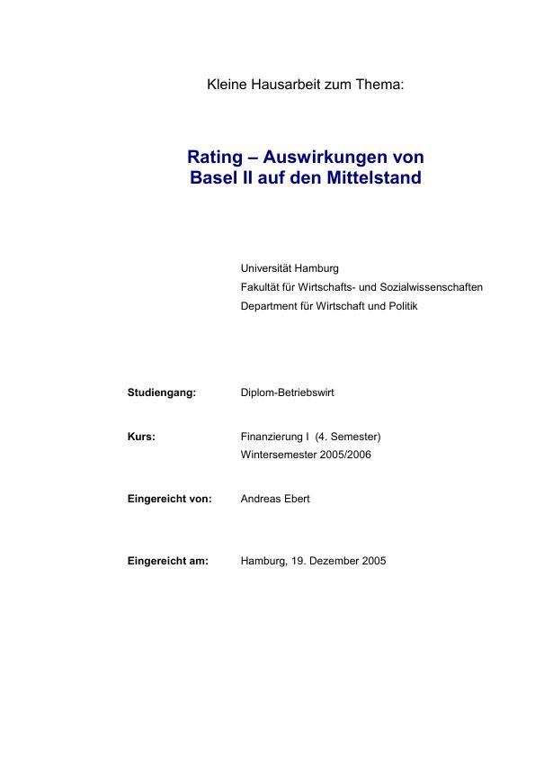 Titel: Rating - Auswirkungen von Basel II auf den Mittelstand