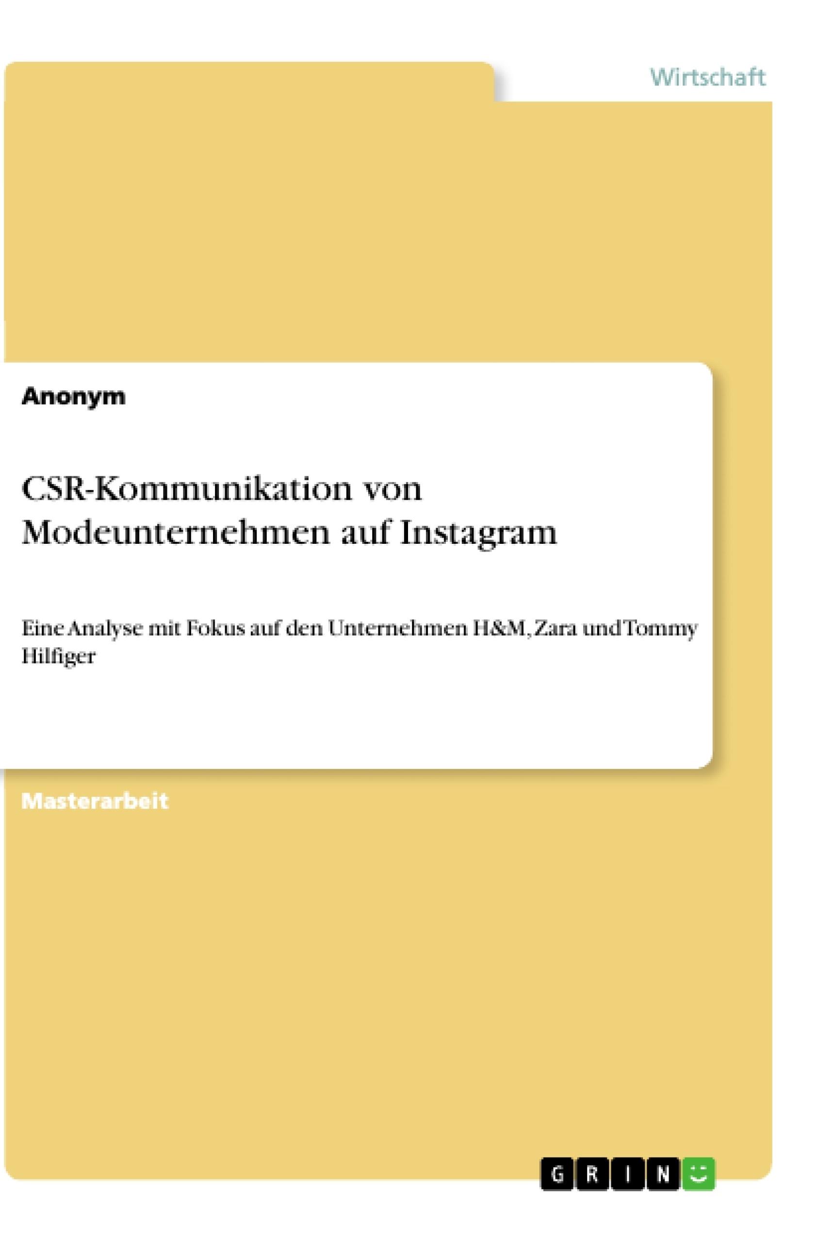 Titel: CSR-Kommunikation von Modeunternehmen auf Instagram