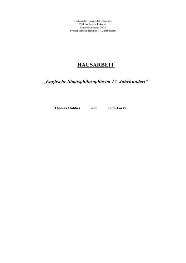 Titel: Englische Staatsphilosophie im 17. Jahrhundert