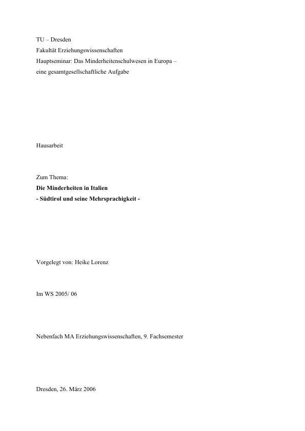 Titel: Die Minderheiten in Italien - Südtirol und seine Mehrsprachigkeit