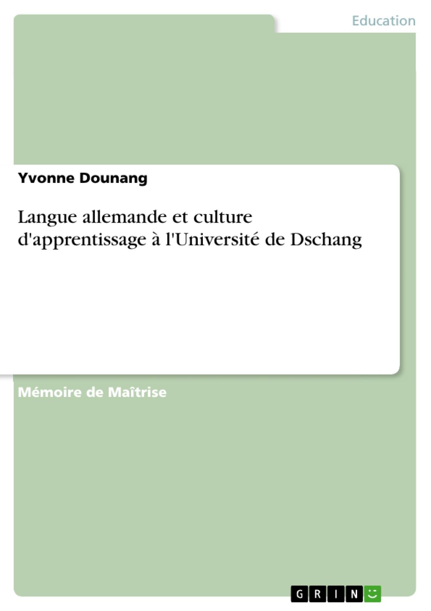 Titre: Langue allemande et culture d'apprentissage à l'Université de Dschang