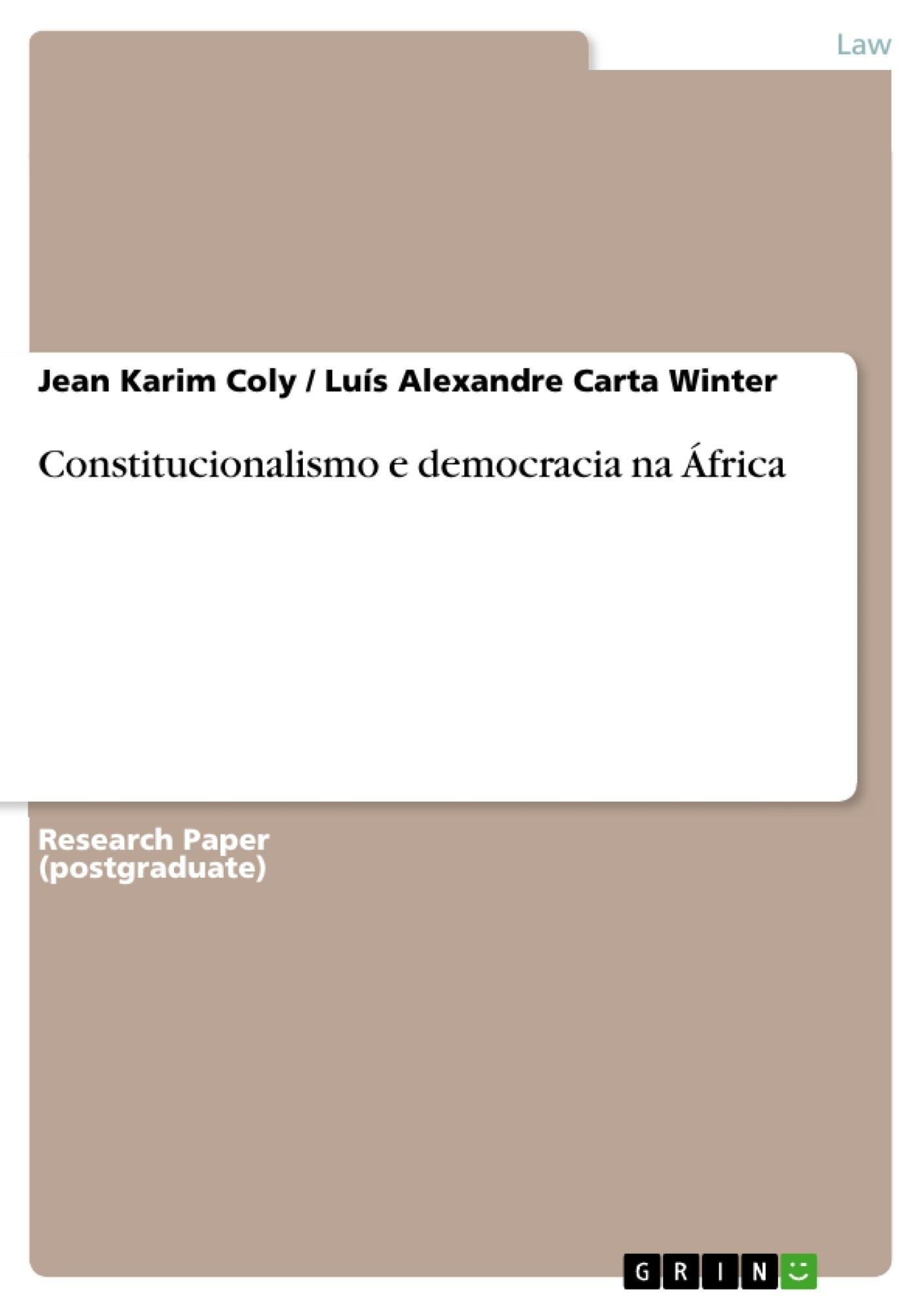 Title: Constitucionalismo e democracia na  África