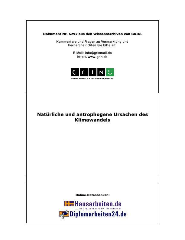 Titel: Natürliche und antrophogene Ursachen des Klimawandels