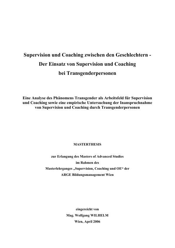 Titel: Supervision und Coaching zwischen den Geschlechtern. Eine empirische Untersuchung bei Transgender-Personen