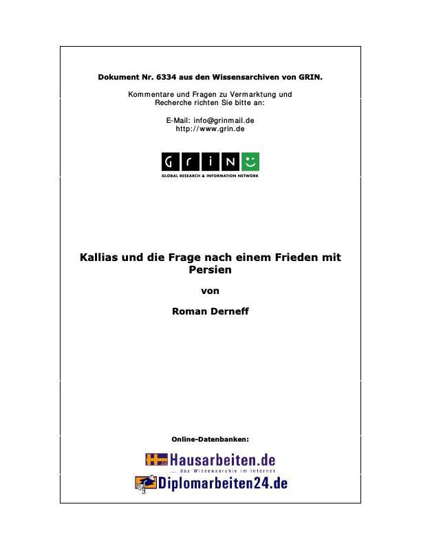 Titel: Kallias und die Frage nach einem Frieden mit Persien