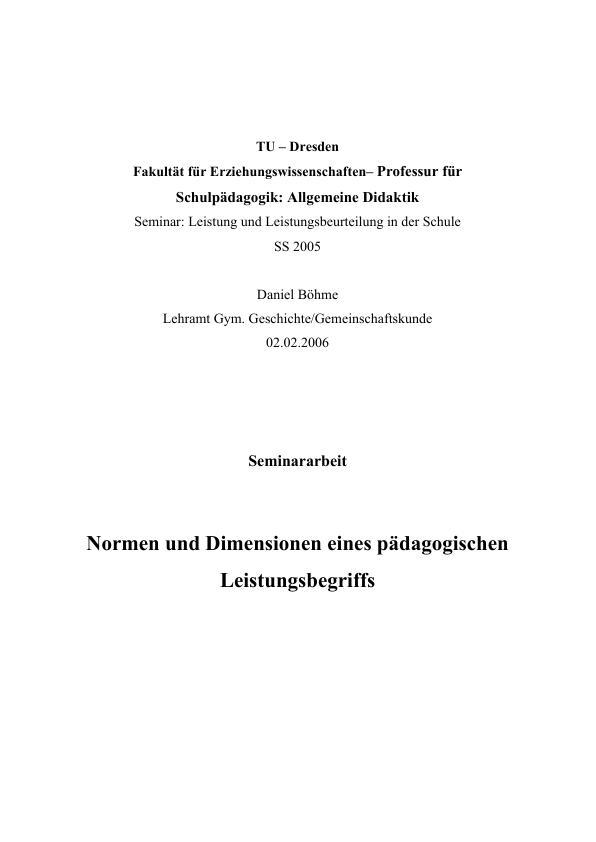 Titel: Normen und Dimensionen eines pädagogischen Leistungsbegriffs
