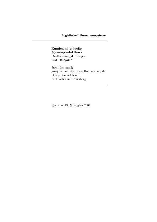 Titel: Mass-Customization: Kundenindividuelle Massenproduktion - Realisierungskonzepte und Beispiele