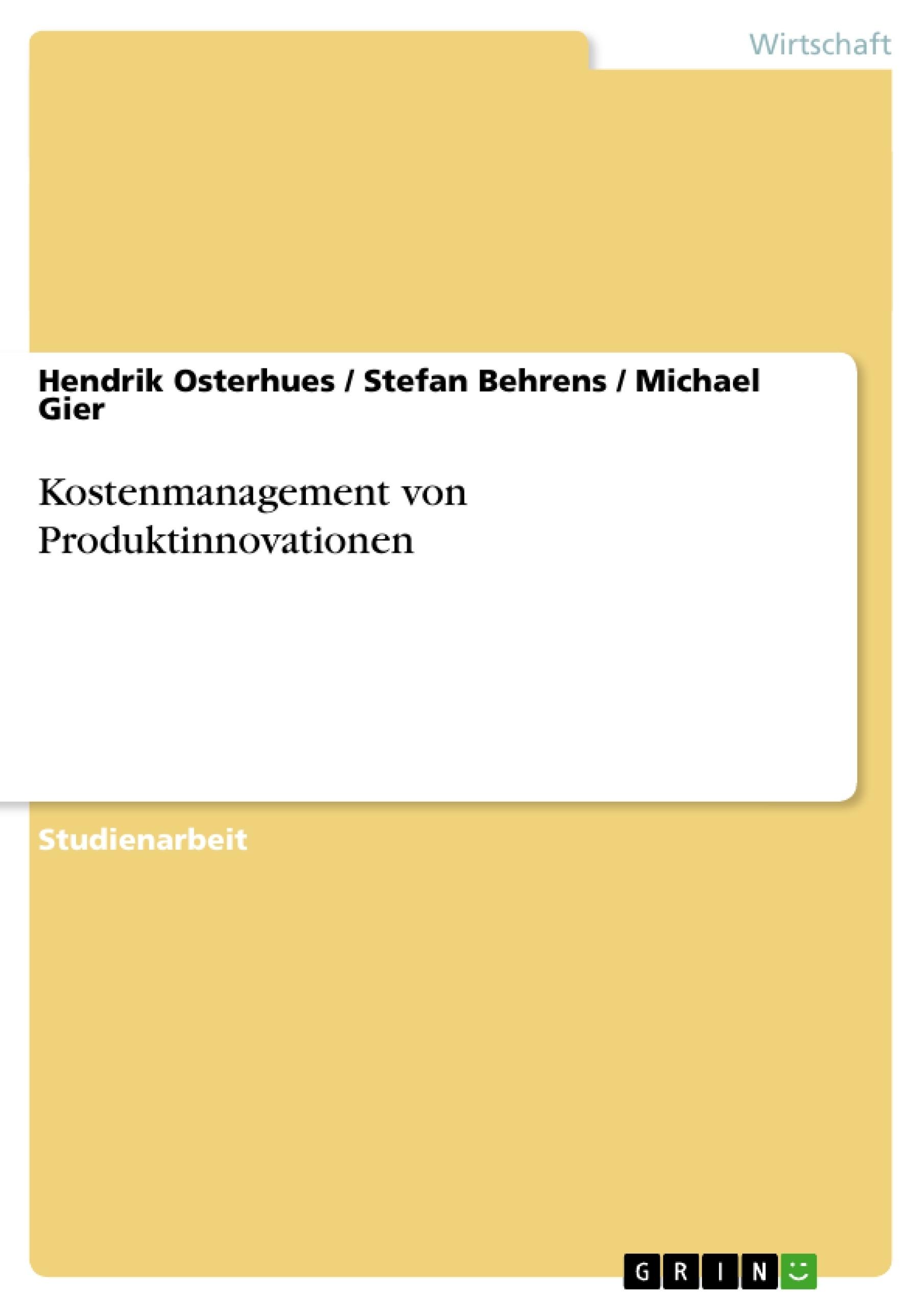 Titel: Kostenmanagement von Produktinnovationen