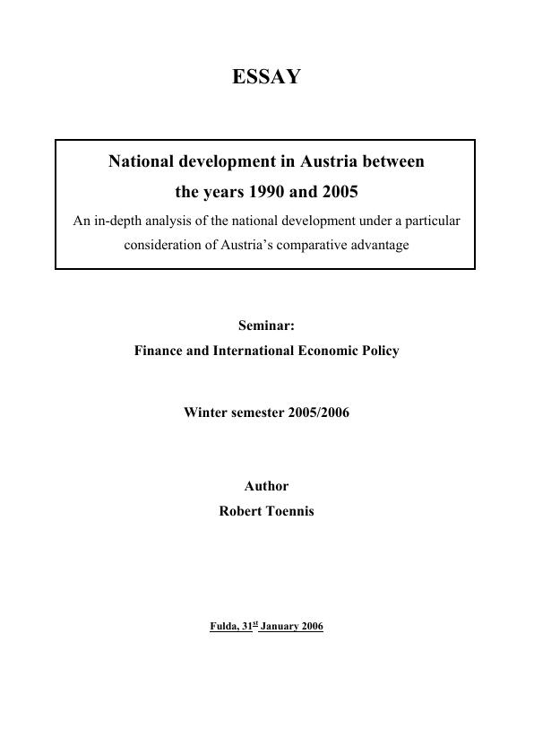 Title: National development in Austria between the years 1990 and 2005