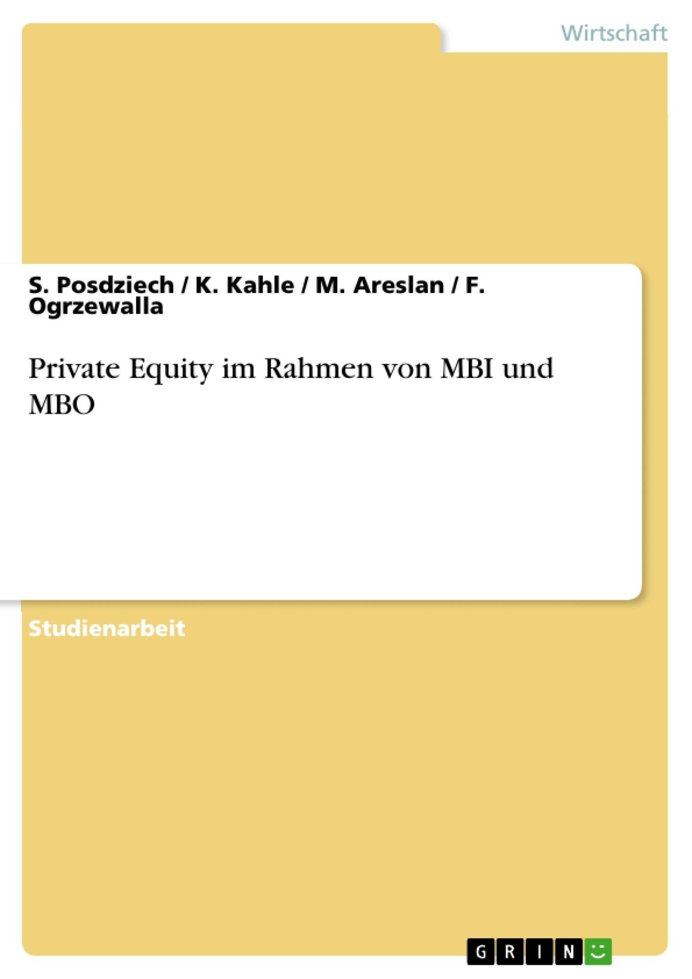 Titel: Private Equity im Rahmen von MBI und MBO