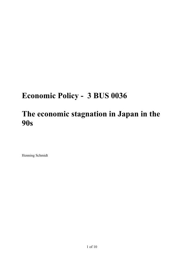 Title: The economic stagnation in Japan in the 90s
