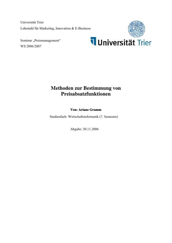 Titel: Methoden zur Bestimmung von Preisabsatzfunktionen