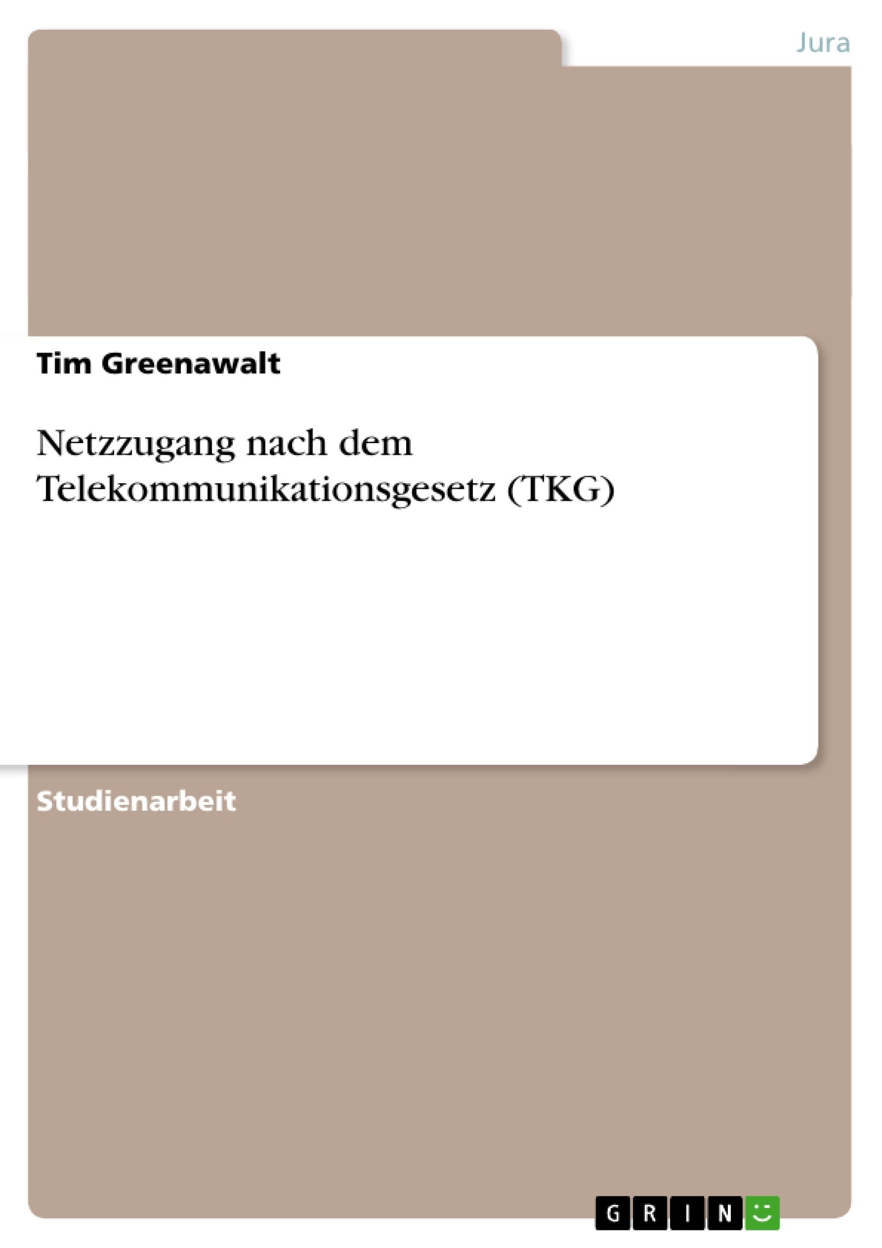 Titel: Netzzugang nach dem Telekommunikationsgesetz (TKG)