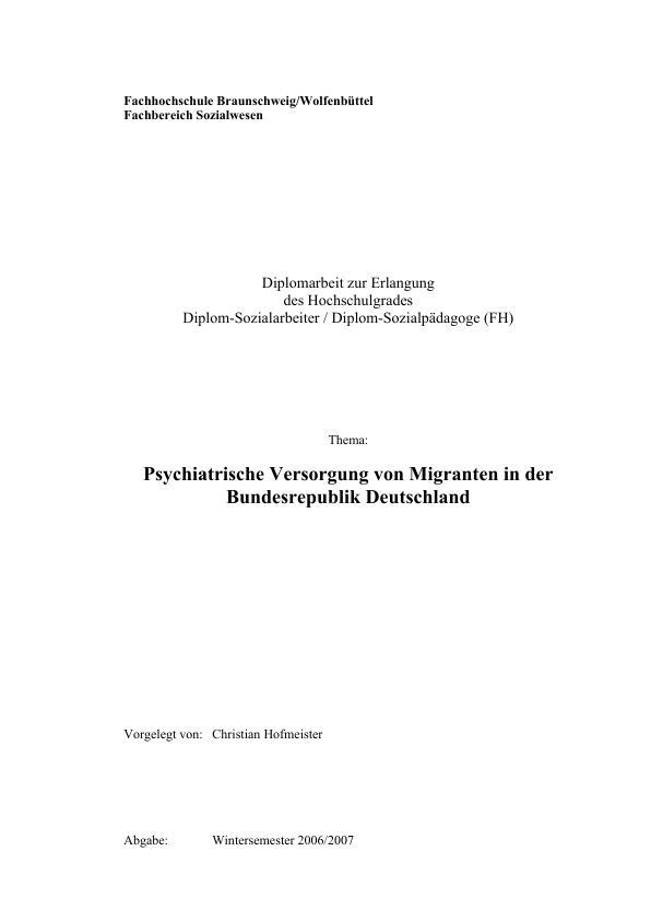 Titel: Psychiatrische Versorgung von Migranten in der Bundesrepublik Deutschland