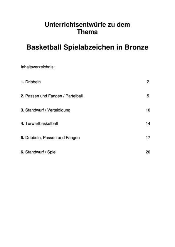 Titel: Basketball Spielabzeichen in Bronze