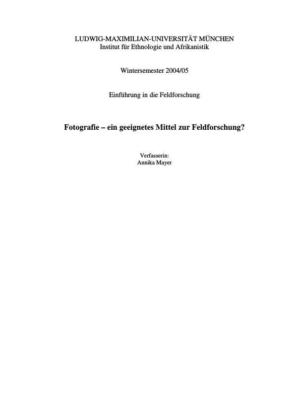 Titel: Fotographie - ein geeignetes Mittel zur Feldforschung?