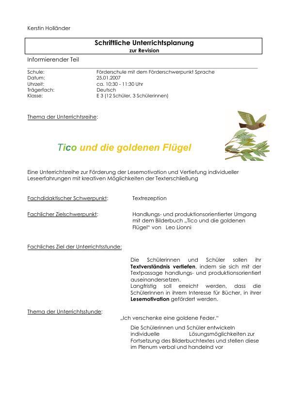 """Titel: Handlungs- und produktionsorientierter Umgang mit dem Bilderbuch """"Tico und die goldenen Flügel"""" von Leo Lionni (Heil- und Sonderpädagogik)"""