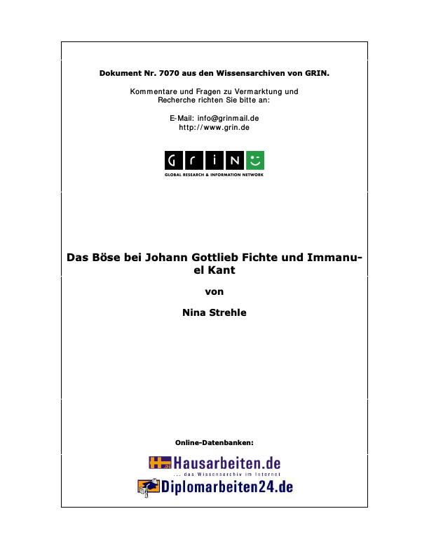 Titel: Das Böse bei Johann Gottlieb Fichte und Immanuel Kant