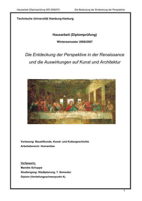 Titel: Die Entdeckung der Perspektive in der Renaissance und die Auswirkungen auf Kunst und Architektur