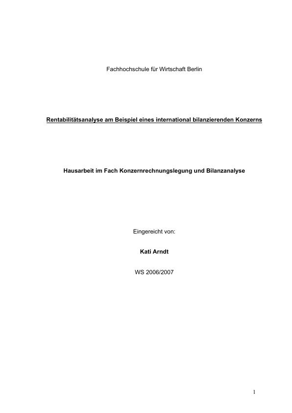 Titel: Rentabilitätsanalyse am Beispiel eines international bilanzierenden Konzerns - BMW