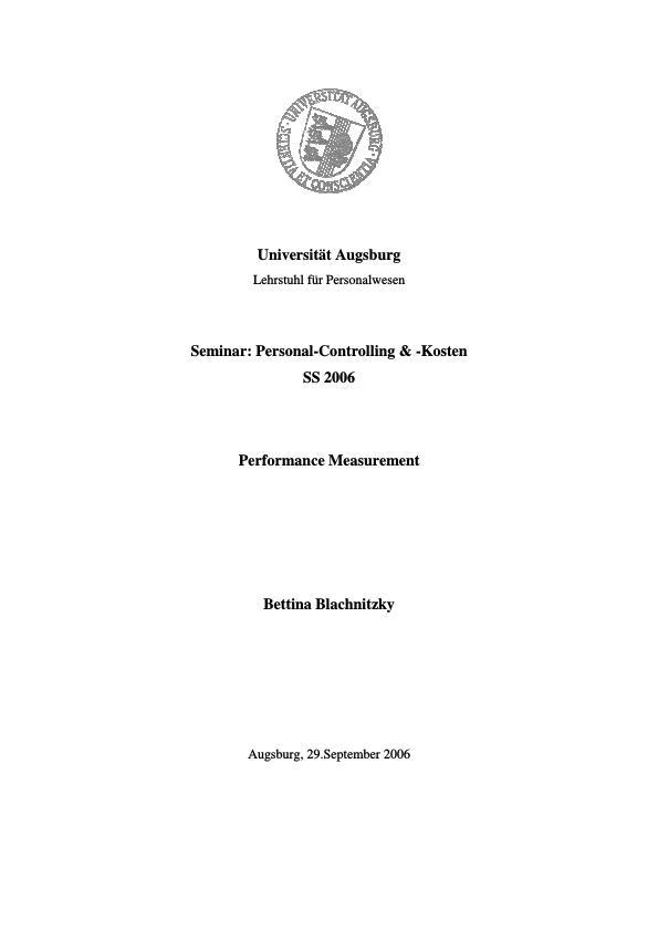 Titel: Performance Measurement. Definitionen, Erwartungen und die unternehmerische Praxis
