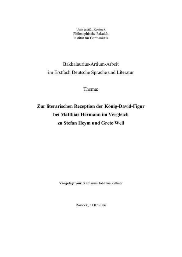 Titel: Zur literarischen Rezeption der König-David-Figur bei Matthias Hermann im Vergleich zu Stefan Heym und Grete Weil