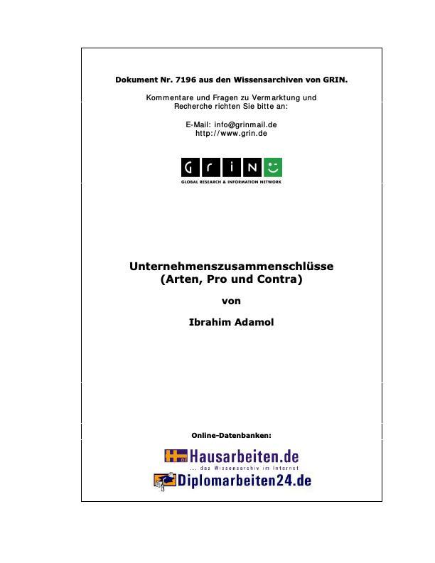 Titel: Unternehmenszusammenschlüsse (Arten, Pro und Contra)