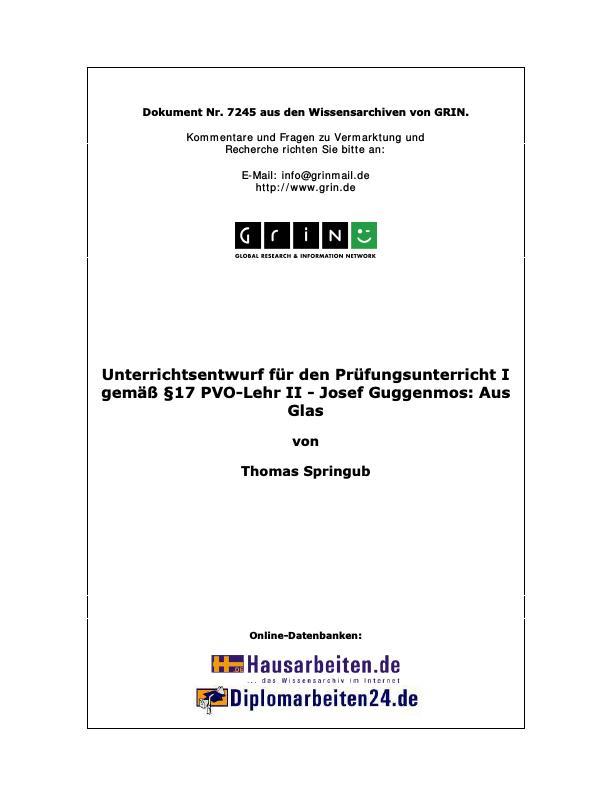 Josef Guggenmos: Aus Glas - Unterrichtsentwurf für den ...