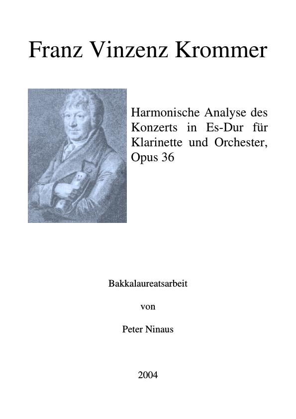 Titel: Franz Vinzenz Krommer - Harmonische Analyse des Konzerts in Es-Dur