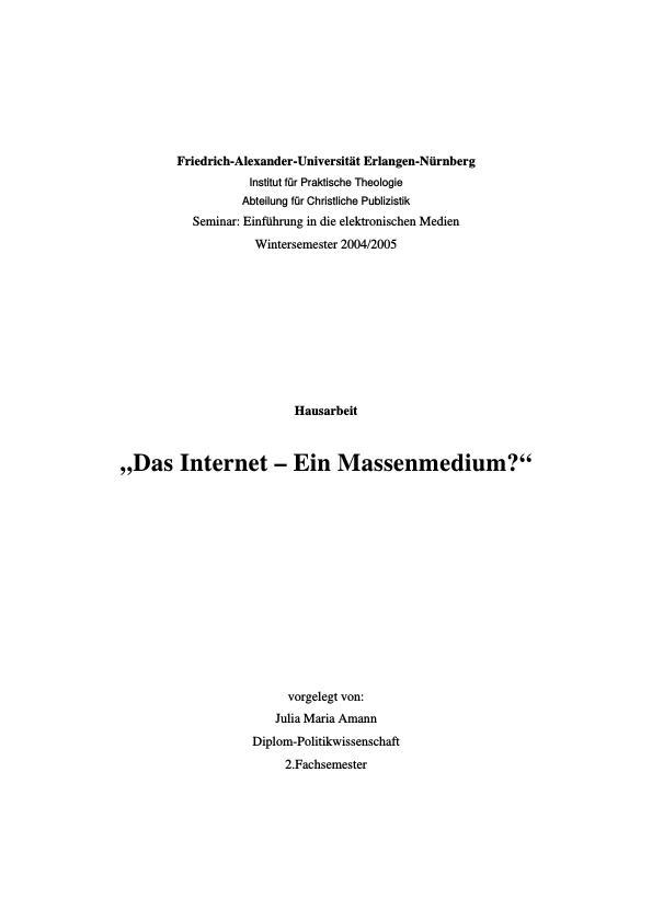 Das Internet - Ein Massenmedium?   Masterarbeit, Hausarbeit ...