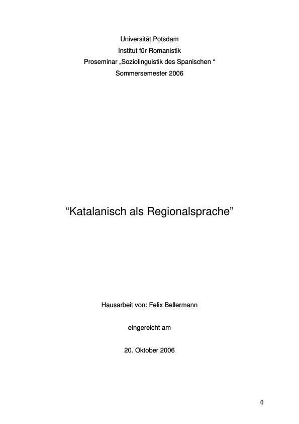 Titel: Katalanisch als Regionalsprache