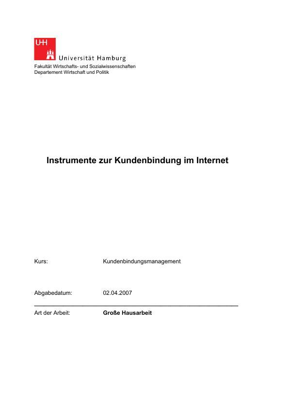 Titel: Instrumente zur Kundenbindung im Internet