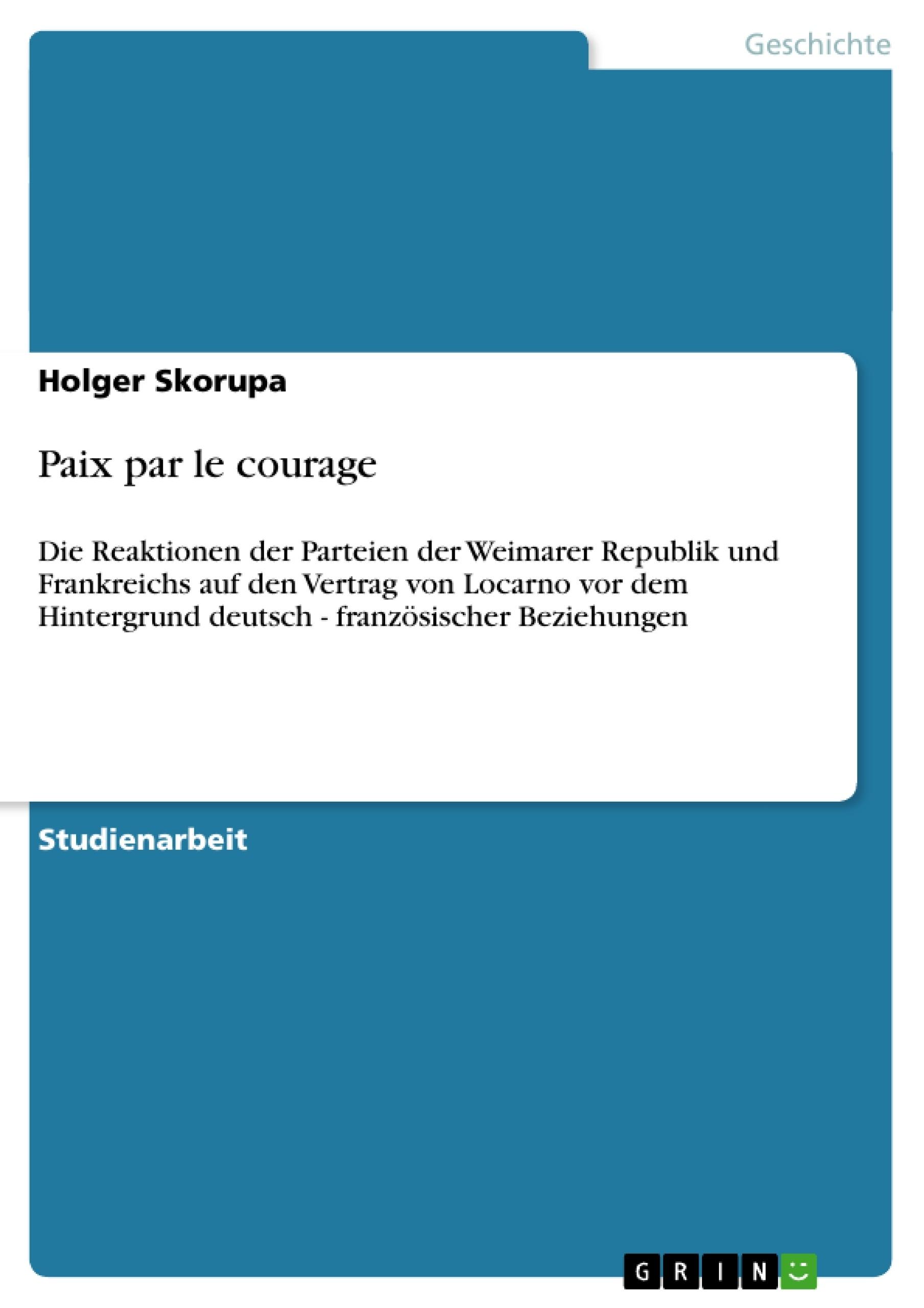 Titel: Paix par le courage