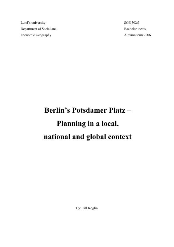 Title: Berlin's Potsdamer Platz - Planning in a local, national and global context