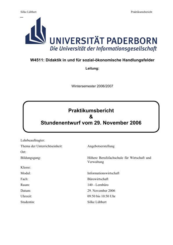 Titel: Angebotserstellung - ein Praktikumsbericht und ein Entwurf der Unterrichtsstunde
