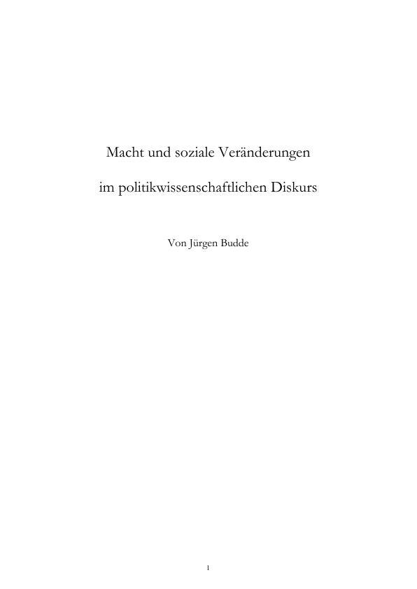 Titel: Macht und soziale Veränderungen im politikwissenschaftlichen Diskurs