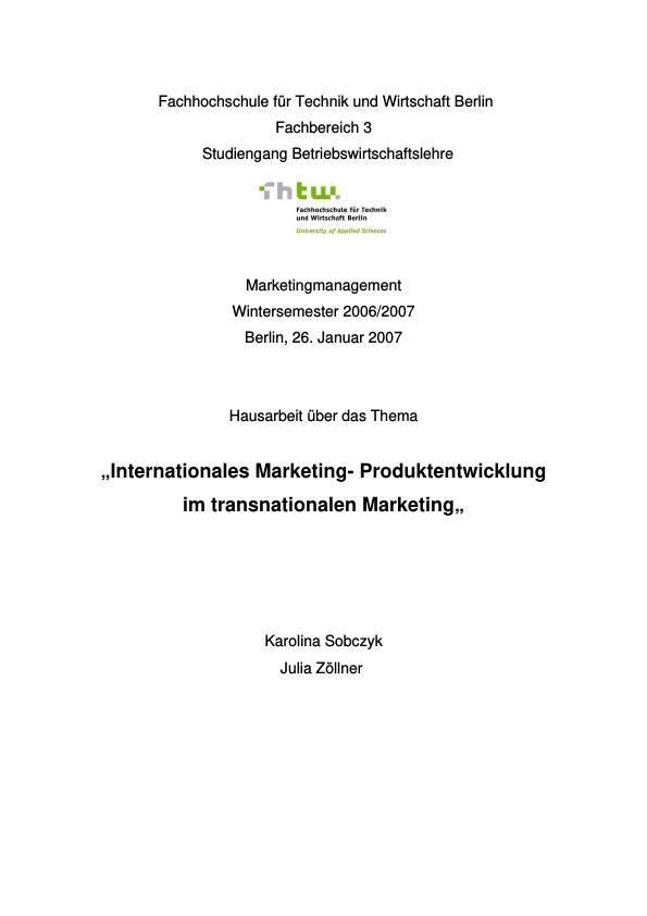 Titel: Internationales Marketing - Produktentwicklung im transnationalen Marketing