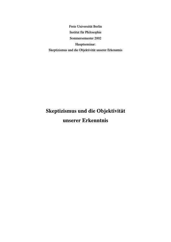 Titel: Skeptizismus und die Objektivität unserer Erkenntnis