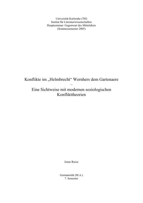 """Titel: Konflikte im """"Helmbrecht"""" Wernhers dem Gartenaere"""