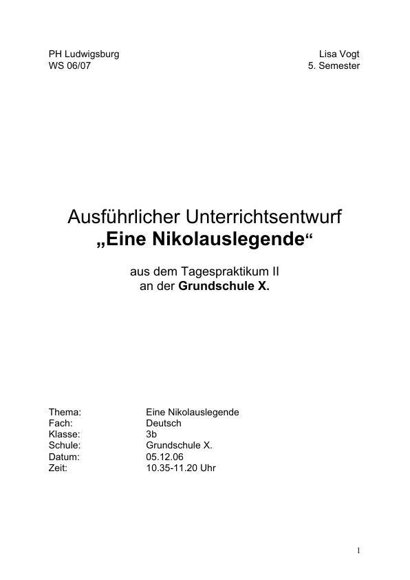 """Titel: Eine Nikolauslegende - Das Thema """"Nikolaus"""" im Unterricht"""