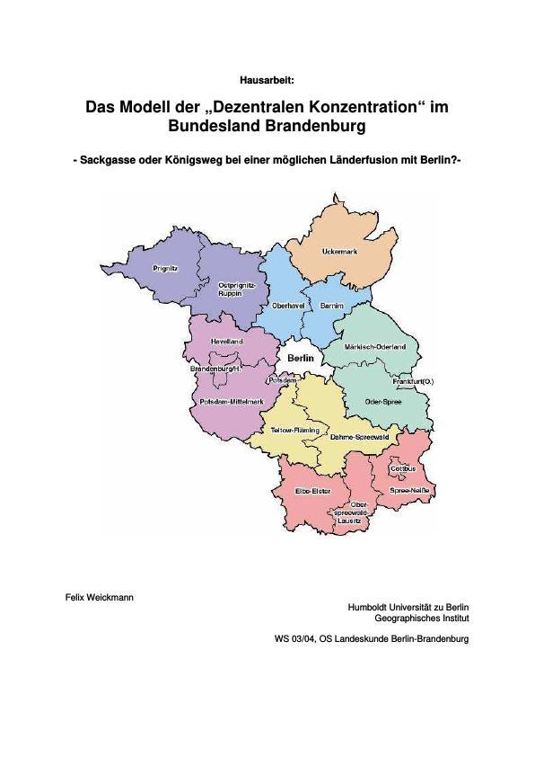 """Titel: Das Modell der """"Dezentralen Konzentration"""" im Bundesland Brandenburg"""