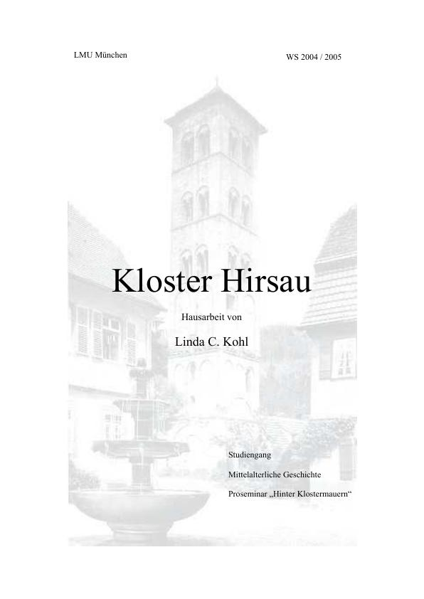 Titel: Das Kloster Hirsau