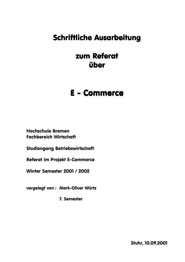 Titel: Überblick über den E-Commerce (Stand 2001)