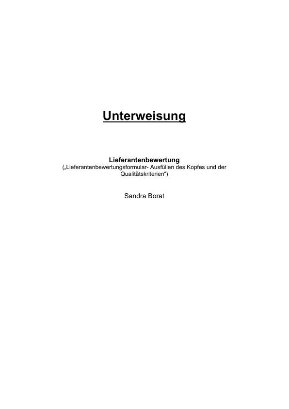 Titel: Lieferantenbewertung (Unterweisung Bürokaufmann / -kauffrau)
